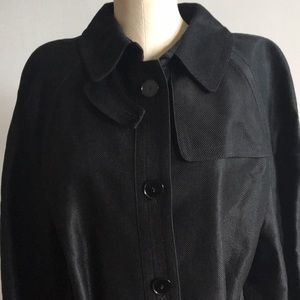 TALBOTS Large Black Linen Blend Trench Coat NWTS